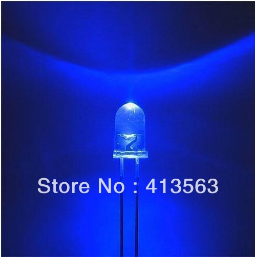 5MM / F5 Hat Light LED / - Blue - white Hair And Bright Blue LED / Light-Emitting Diodes SHORT LEG 1000PCS
