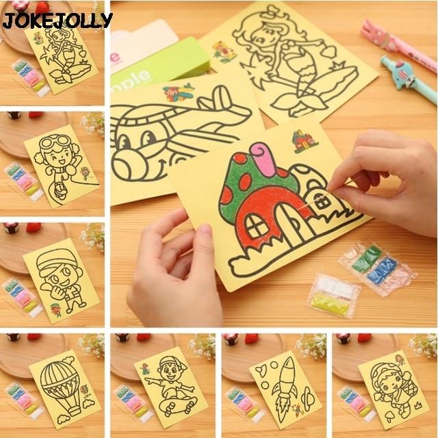 10 unids/lote niños chico s dibujo juguetes pintura de arena fotos chico DIY juguete de la educación para los niños y las niñas GYH