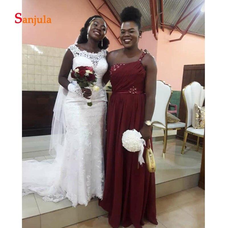 Une épaule bordeaux mousseline de soie robes de demoiselle d'honneur plis perlés robes de mariée africaines robes de boda invitados D540 - 3