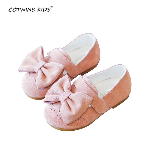 CCTWINS KIDS spring autumn kid fashion princess bow flats for baby girl brand party suede child genuine leather shoes pink G842