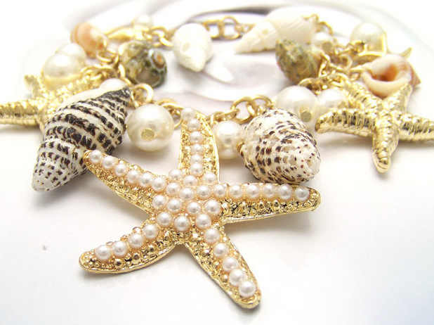 Fashion High Quality Bohemian Ocean Style Multilayer Starfish Sea Star Conch Shell Pearl Chain Beach Bracelets & Bangles Women