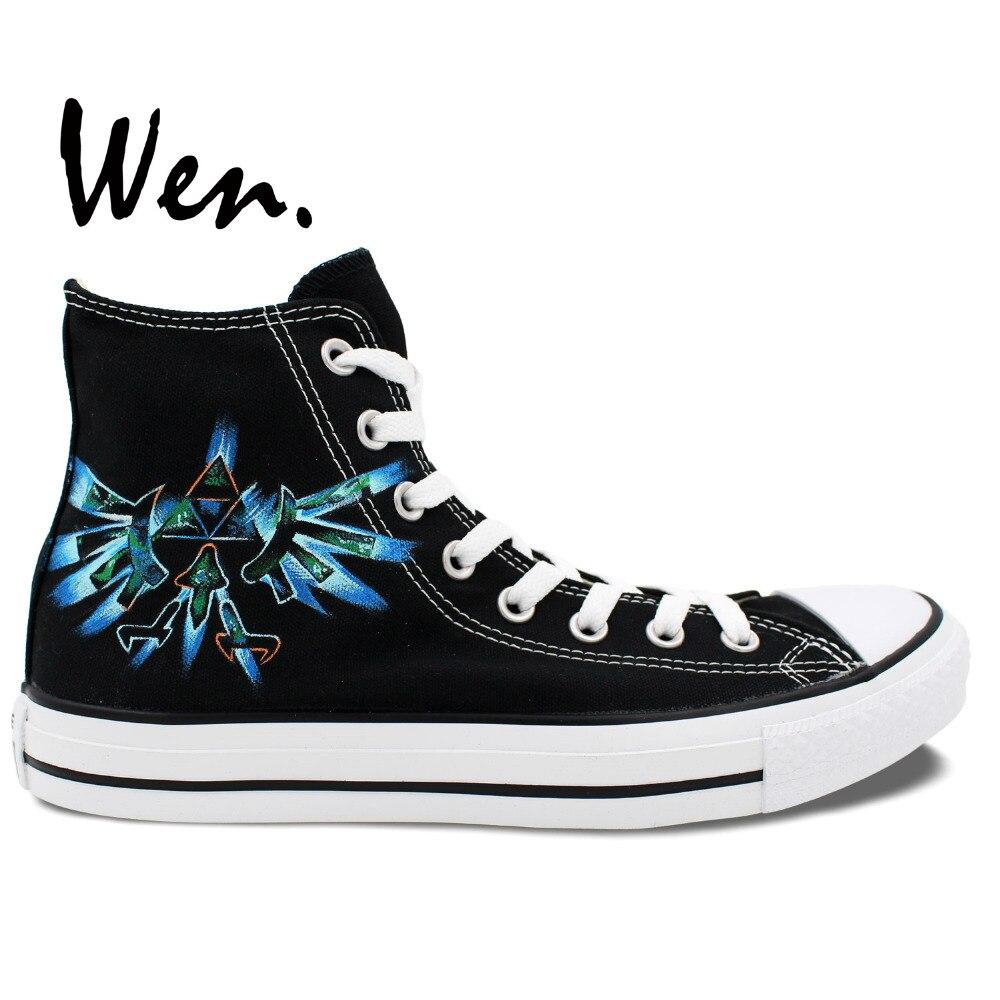 Wen Design Video Game Legend Of Zelda Blue Mark Hand Painted Skateboard Shoes Girls Boys Black High Top Canvas Outdoors Sneakers