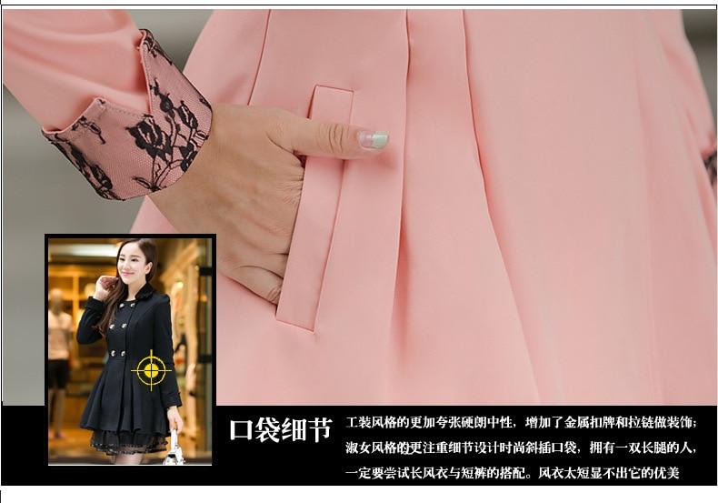 Paragraphe Femmes De Grande Black breasted 2014 6xl pink Taille L Double Manteau Nouveau Hiver Coréen Slim Dames Long blue En 678xwa