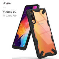 Ringke Fusion X Case for Galaxy A50 Clear View Back and Flexible TPU Frame Hybrid Anti-knock Case