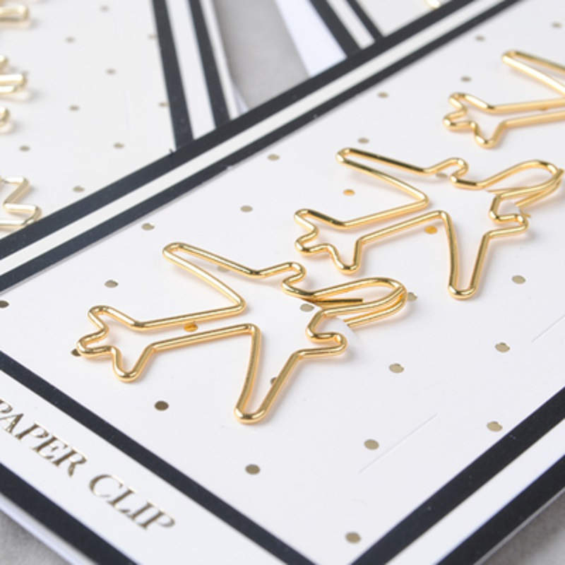 gold color plane design paper clip metal clip Bookmarks storage office accessories gold pink bow book mark cute bow paper clips