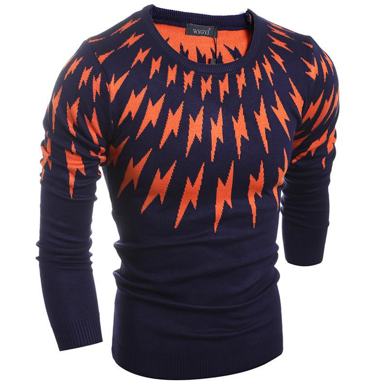 ZEESHANT New Spring Fashion Brand Casual Sweater Male O Neck Lighted Slim Fit Knitting Mens Swearer