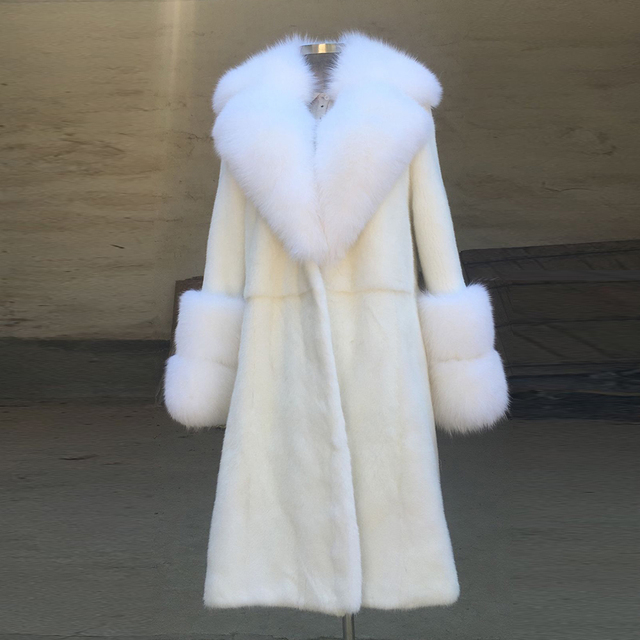 4f2745ab69f802 Delicate Design Women Winter Tops Real Fur Mink Coats With White Fox Collar  Sleeves Warm X-long Overcoats Nature Fur Mink Jacket