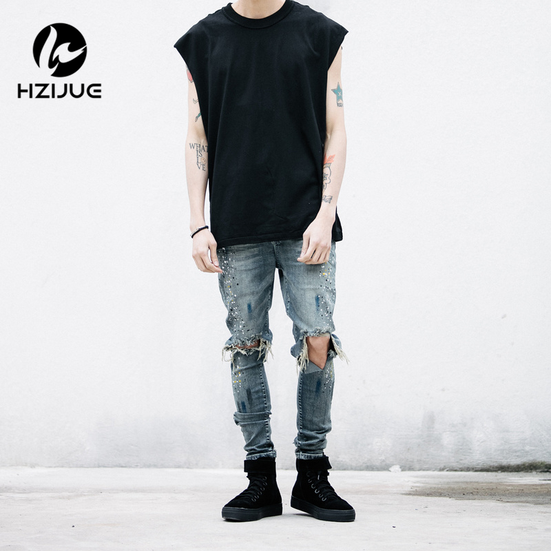 ФОТО HZIJUE 2017 NEW top hiphop pants  men's ripped slp jumpsuit frazzle jeans fashion designer brand distressed Hole jeans 29-36