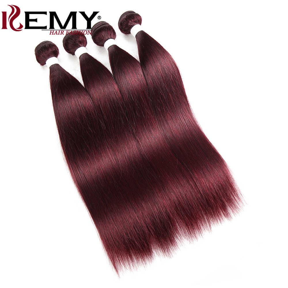 99J/бордовые красные человеческие волосы пучки сделки kemy Hair бразильские прямые человеческие волосы ткет 100% Remy человеческие волосы для наращивания