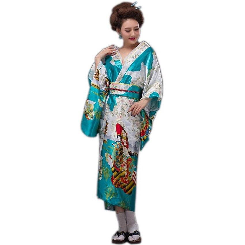 Lady Japanese Lake Blue Fashion Traditional Silk Kimono Gown Yukata With Obi Evening Dress Stage Performance Costumer One Size