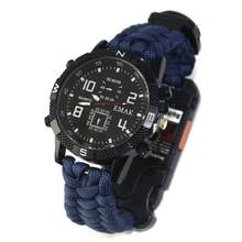 EDC Tactical multi Outdoor Camping survival bracelet watch compass Rescue Rope paracord equipment Tools kit(China)