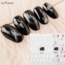 1 Sheet Smoke 3D Nail Art Stickers Colorful Sumdge Nail Stickers Nail Decals Adhesive Sticker Tattoo Slides