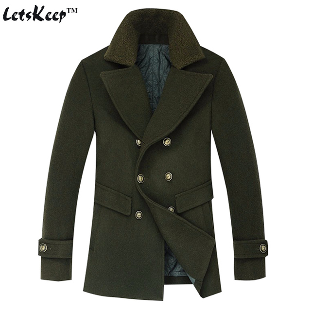 a46ee955a52 Letskeep 2016 New Winter Wool long coat men Army green Thick trench coat  Jackets men s fur