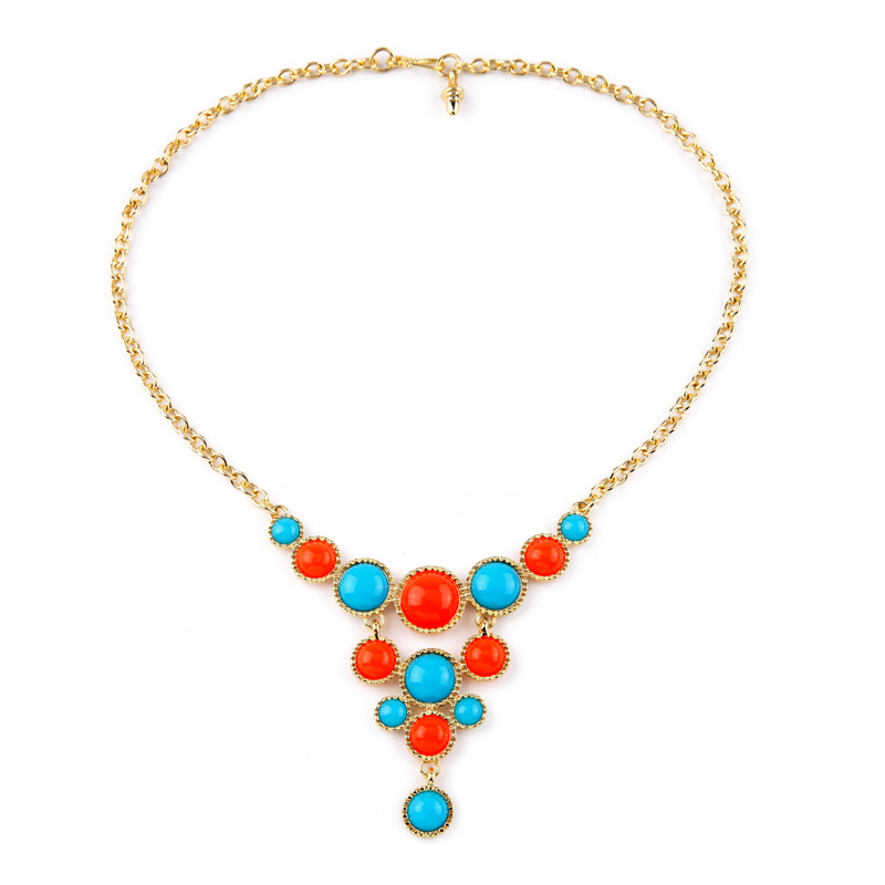 Imitation Gemstone Cluster Necklace Chokers Colorful Cheap Women Accessories 2015 Bohemia Style