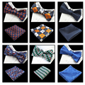 New Arrivel Luxury Self Bow Tie And Hanky Set Silk Jacquard Woven Men Butterfly BowTie Pocket Square Handkerchief Suit Wedding