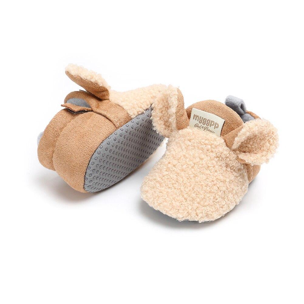 2018 Brand New Toddler Newborn Baby Crawling Shoes Boy Girl Lamb Slippers Prewalker Trainers Fur Winter Animal Ears First Walker 6