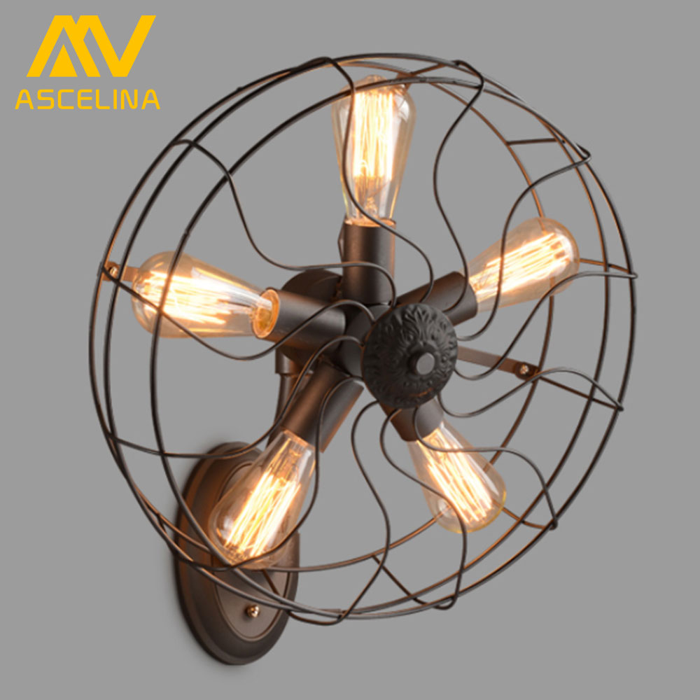 ASCELINA Retro Loft Style vintage Industrial fans Wall Lamp With 5 Head E27 Edison bulb 110/220V Wall fan lighting For home цена
