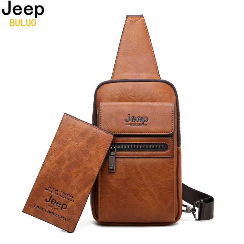 JEEP BULUO High Quality Men Chest Bags Split Leather Large Size Shoulder Crossbody Bag For Young Man Famous Brand Sling Bags-in Waist Packs from Luggage & Bags    1