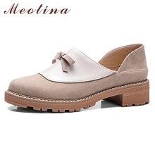 Купить с кэшбэком Meotina High Heels Shoes Women Bow Square Med Heel Loafers Shoes Slip On Round Toe Pumps Female Footwear Spring Large Size 33-43