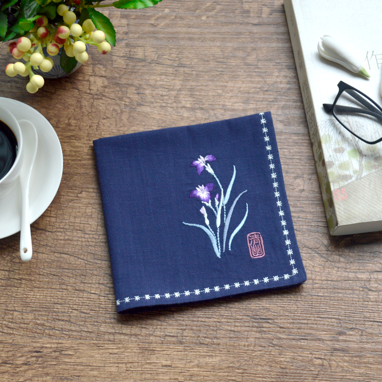 Orchid Vintage Style Embroidery Cotton And Linen Vintage Handkerchief Pocket Square Birthday Foreigner Elders Christmas Gift