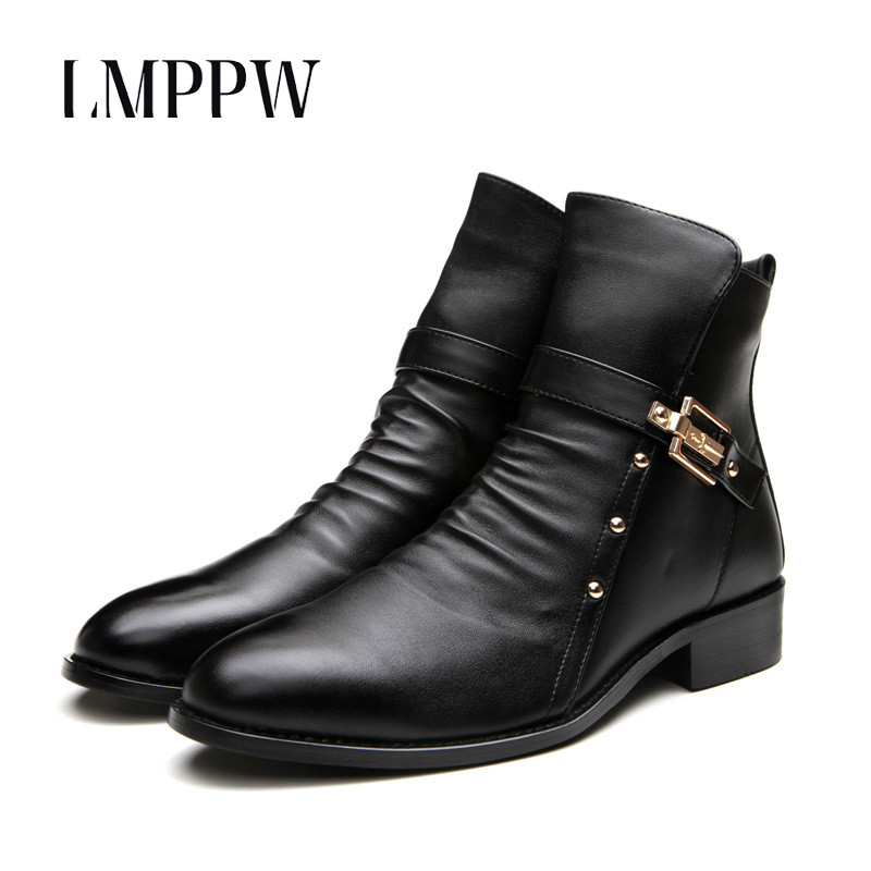 British Style Men Boots Leather Fashion Retro Martin Boots Autumn Winter Genuine Leather Ankle Boots for Men Casual Shoes Black