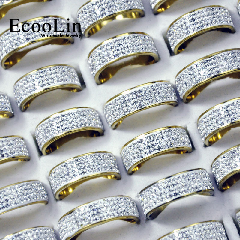 50Pcs EcooLin Brand Gold and Silver Sky Stars Full Zircon Stainless Steel Rings For Women Fashion