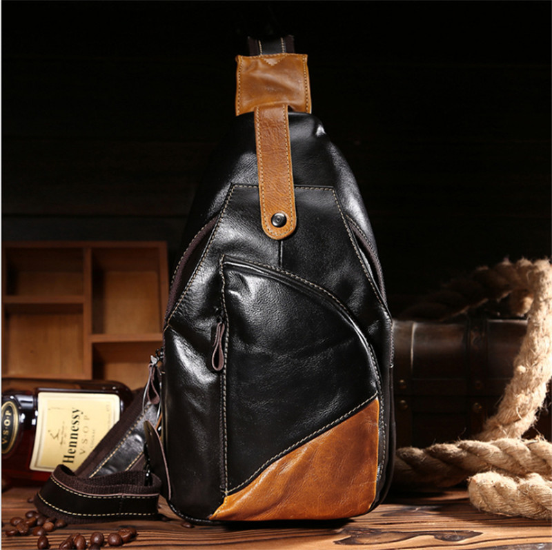 ФОТО Top Grade Men Genuine Leather Chest Bag Vintage Retro Small Messenger Bags Oil Wax Leather  Men Crossbody Shoulder Bag 052