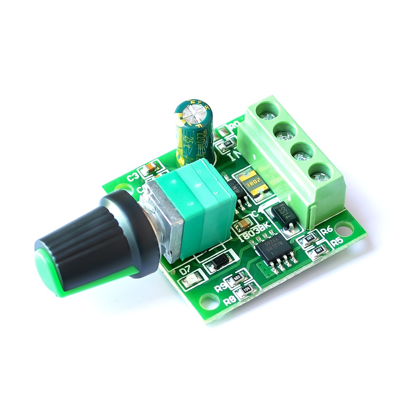 DC Motor Drive With a Self-Recovery Fuse And Power-On LED light