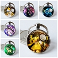 Pikachu Pokemon Pokeball Silver Plated Key Chains Umbreon Round Glass Dome Pendant Keychain Key Rings Keyring Leafeon Gift Go