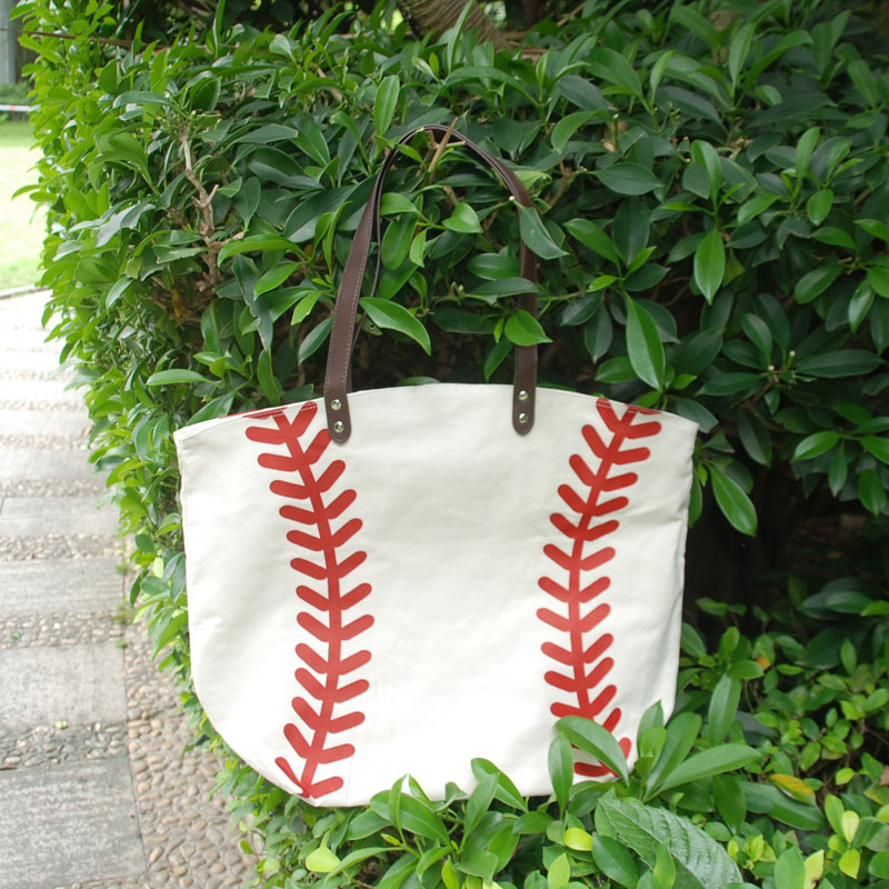 Large Base ball Tote Wholesale Blanks Adult Softball Canvas Tote 22L 17H 8W inch DOMIL Team