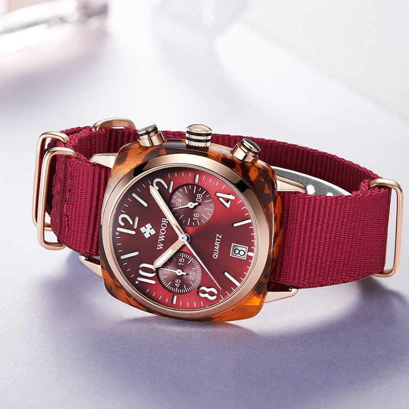 Merah Tali Nilon Gaya Kuarsa Wanita Jam Tangan Wwoor Top Brand Kasual Chronograph Fashion Wanita Olahraga Watch Date dengan Hadiah Gratis