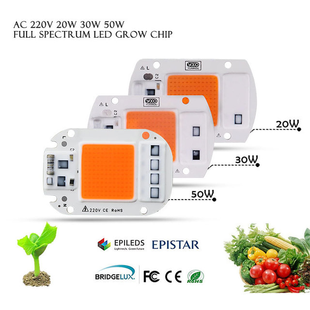 1pcs Hydroponice AC 220V 20w 30w 50w led grow chip full spectrum 380nm 840nm for indoor led grow light