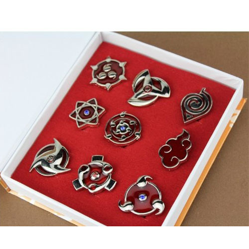 HOT Anime Naruto Set of 9 Uchiha and Sasuke Cosplay Syaringan Badge Pin Pendant Cosplay Costume Accessory Toys Gifts