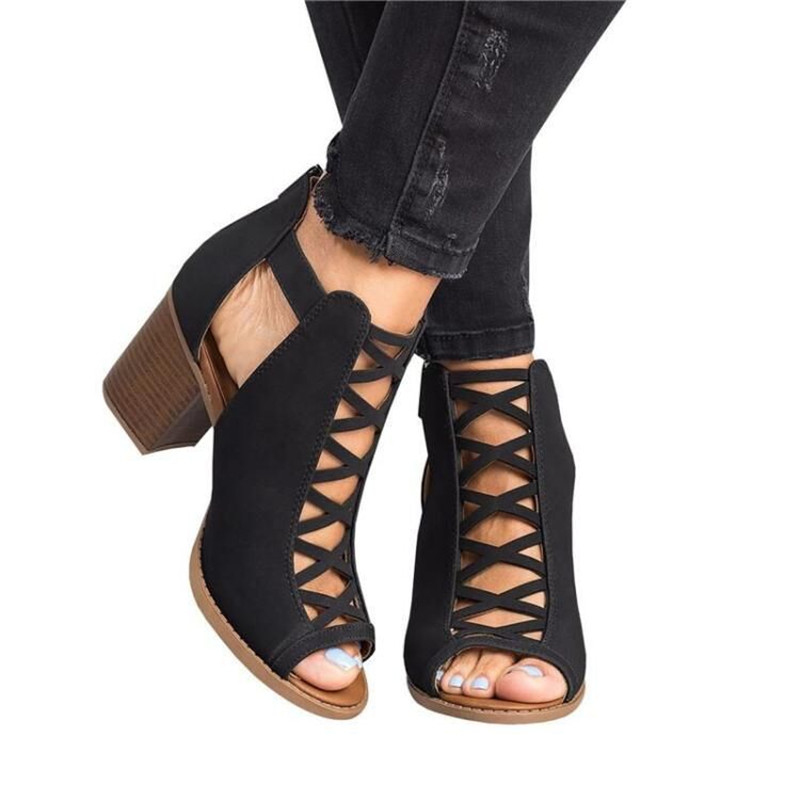 New 2019 Fashion Women Sandals High-heeled Female Summer Shoes Zipper Ladies Sandals Women Shoes Plus Size 35-43