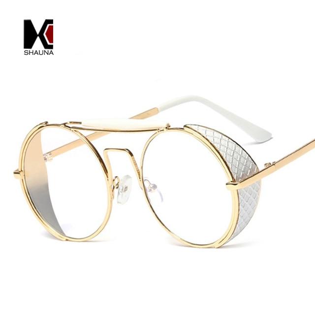 d7046c8e770808 SHAUNA Mode Femmes Steampunk lunettes de Soleil Marque Designer Hommes  Ronde Punk Lunettes de Soleil Motif