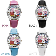ot 2017 new piggy child quartz watch girl printing leather belt plastic shell cartoon child watch