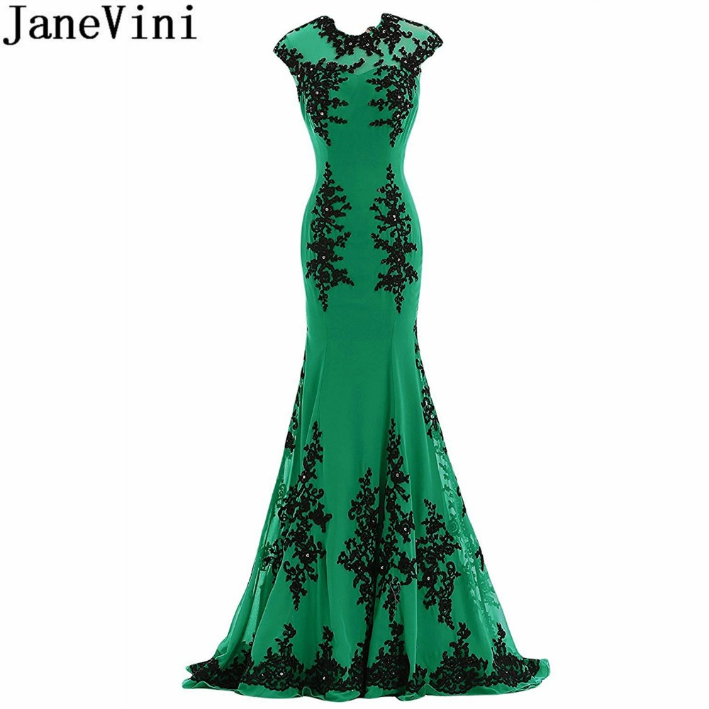 JaneVini Elegant Green Mermaid   Bridesmaid     Dresses   Beaded Black Lace Appliques Chiffon Prom   Dresses   Long Sweep Train Party Gowns