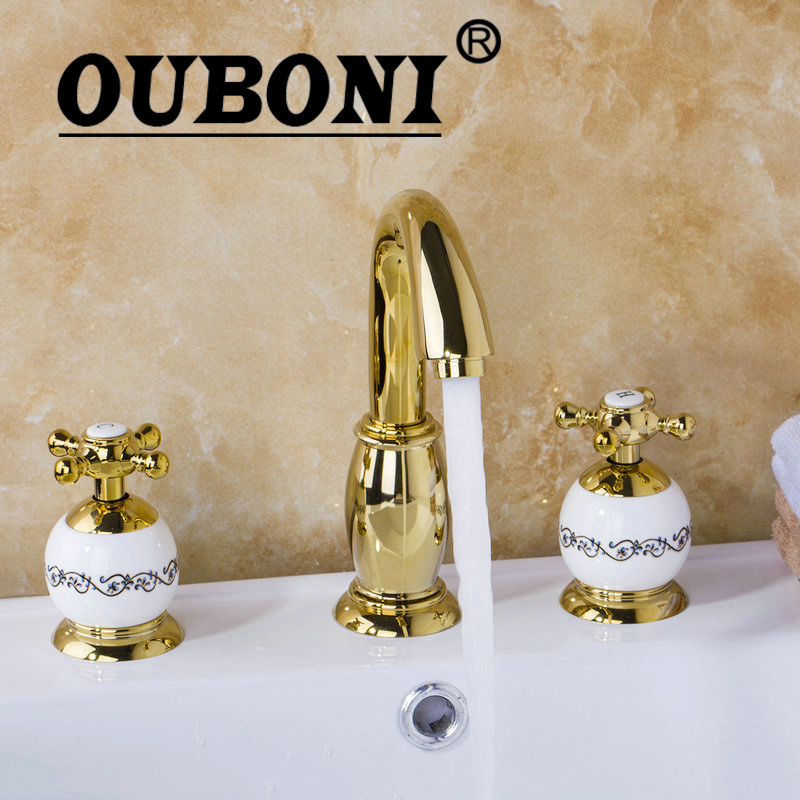 OUBONI 3PCS Set Bathtub Luxury Golden Plated Bathroom Faucet European Split Basin Mixer Tap ceramic Faucet Body Cross Handles golden cross beach cross body jewelry