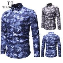 TIAN QIONG 2019 New Fashion Men Shirts Slim Fit Male Flower Print Shirt Casual Long Sleeve Male Shirt Cotton Shirts ML30 casual flower print long sleeve shirt