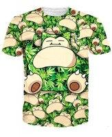 2015 Latest Styles Harajuku Cartoon Pattern Camisetas T Shirt Men Women Snorlax Cartoon Good Quality 3d