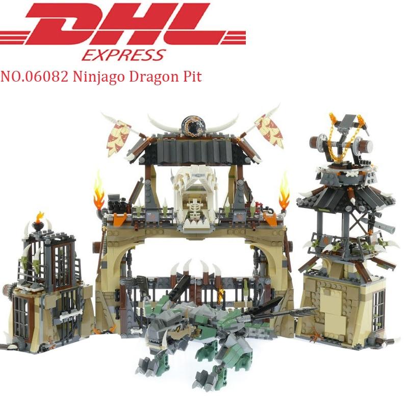 где купить 2018 New Lepin 06082 1859Pcs Ninja Figure Dragon Pit Kai Set Model Building Kits Blocks Bricks Toy For Children Compatible 70655 по лучшей цене