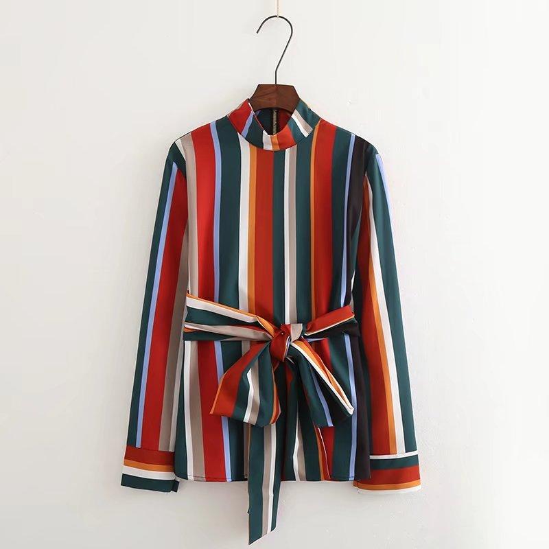 2018 Mode Frauen Farbe Streifen Langarm-shirt Stehkragen Lose Bluse Casual Tops Chemise Femme Blusas S2812 Hohe Sicherheit