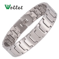 Wollet Jewelry Simple Design Titanium Magnetic Bracelet for Men Silver Color Copper Bio Magnet Health Care Healing