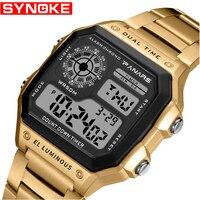 Мужские спортивные цифровые часы с хронографом, водонепроницаемые часы из нержавеющей стали, деловые мужские наручные часы, Relogio Masculino