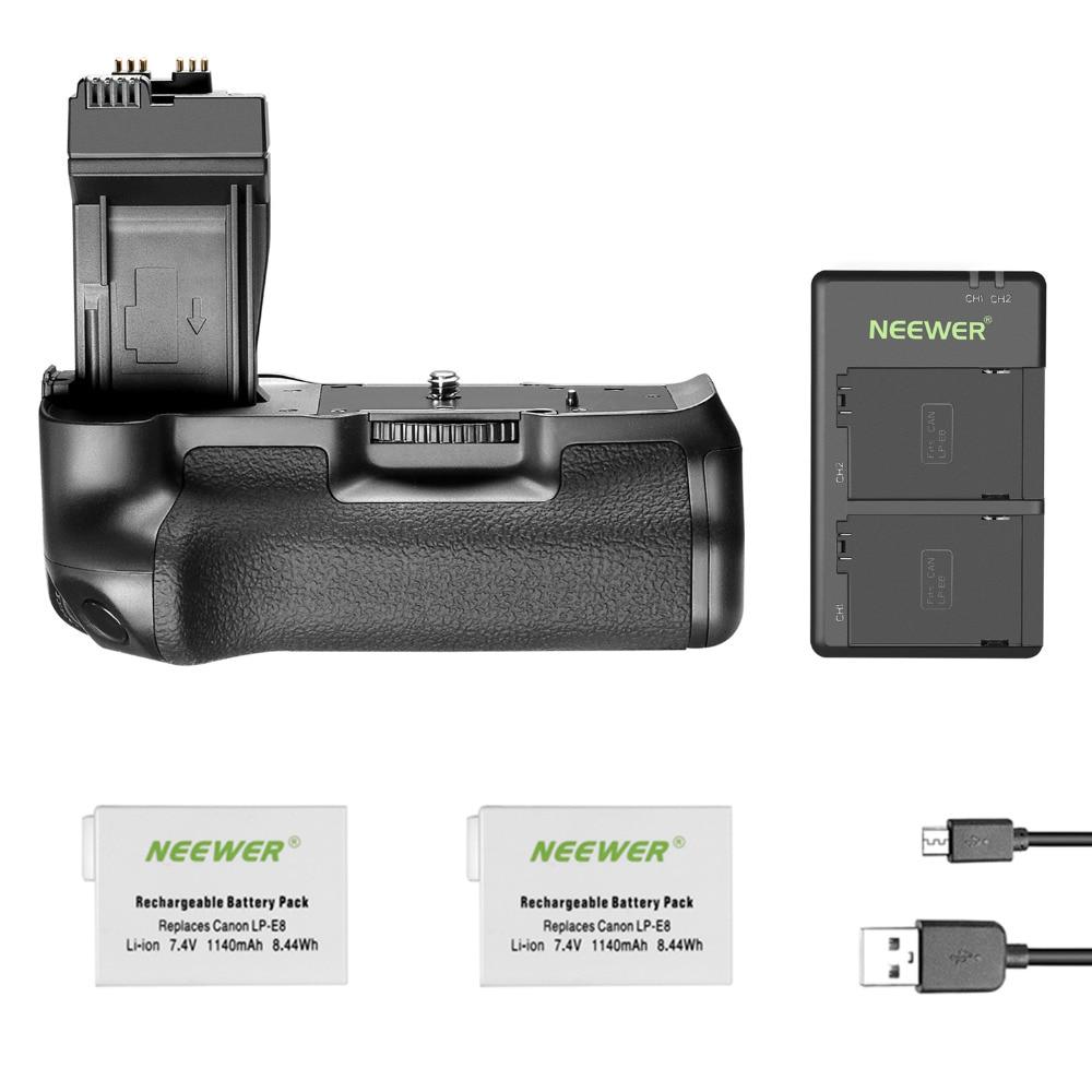 Neewer BG-E8 poignée de batterie de remplacement pour Canon EOS 550D 600D 650D 700D rebelle T2i T3i T4i T5i appareils photo reflex numériques, livré avec 2 piles