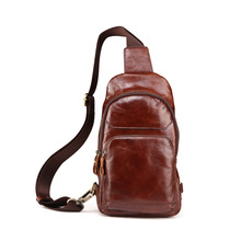 New High-grade genuine leather men chest bags leisure brown color chest pack men messenger bag cowhide mobile bag