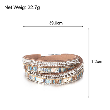 Double Wrap Leather Bracelet size and weight details for store