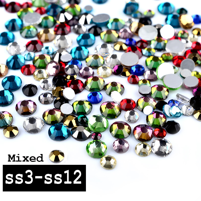 1 Pack Mixed Sizes (SS3-SS12)Colorful Glass Nail Art Rhinestones Non Hotfix Flatback Gems 3D Nail Accessories Decorations 1pack colorful mixed size nail art rhinestones shiny ab crystal non hotfix flatback glass 3d diy gems manicure nails decorations