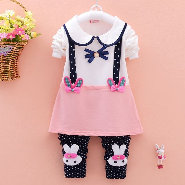 a9bddeb8b16da Spring Girls Children Infants Roupas Long Sleeve T-shirt Dresses+Rabbit Dot  Polka Long