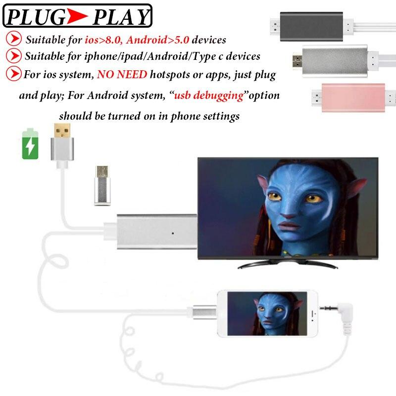imágenes para MHL Para la Galaxia S8/Plus A3/A5/A7/J3 J5/J7 2017/2016 Oneplus 5/3 T/3 Micro USB/Tipo C Al Adaptador de HDMI MHL HDTV Conector